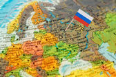 Fotografie Globe map detail Russia with Russian Flag