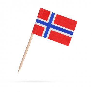 Miniature Flag Norway. Isolated on white background