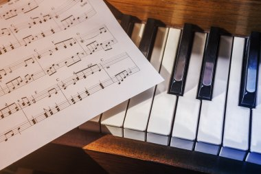 Piano keys and sheet music