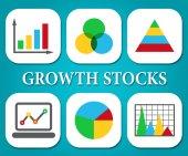 Růstové akcie se orientuje, graf a graf
