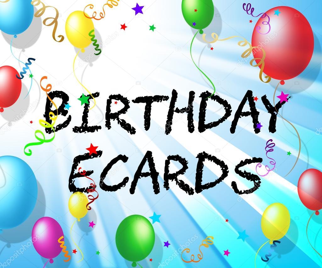 Verjaardag Ecards Vertegenwoordigt Ballonnen Partijen En Vieren