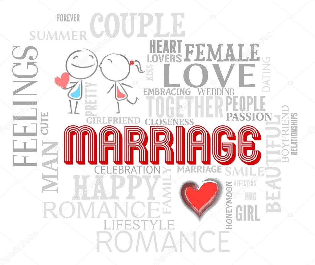 Marriage Words Shows Find Love And Adoration Stock Photo