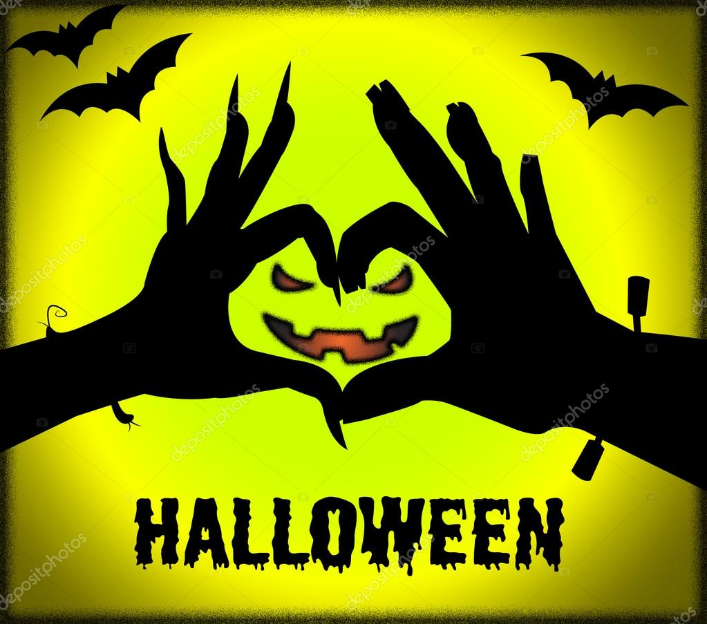 Halloween Face Means Trick Or Treat And Celebration — Stock Photo ©  stuartmiles #120602098