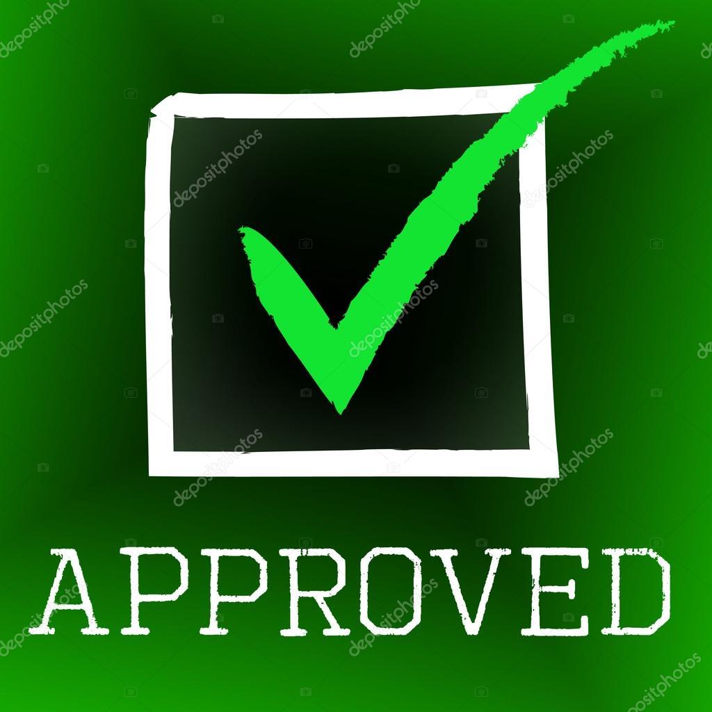 Tick Aprobado Representa Aprobación Y Aseguramiento De La Correcta