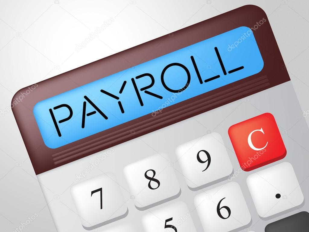 payroll calculator shows earns payday and salaries stock photo