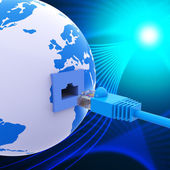 Weltweite Verbindung darstellt, Lan-Netzwerk und Computer