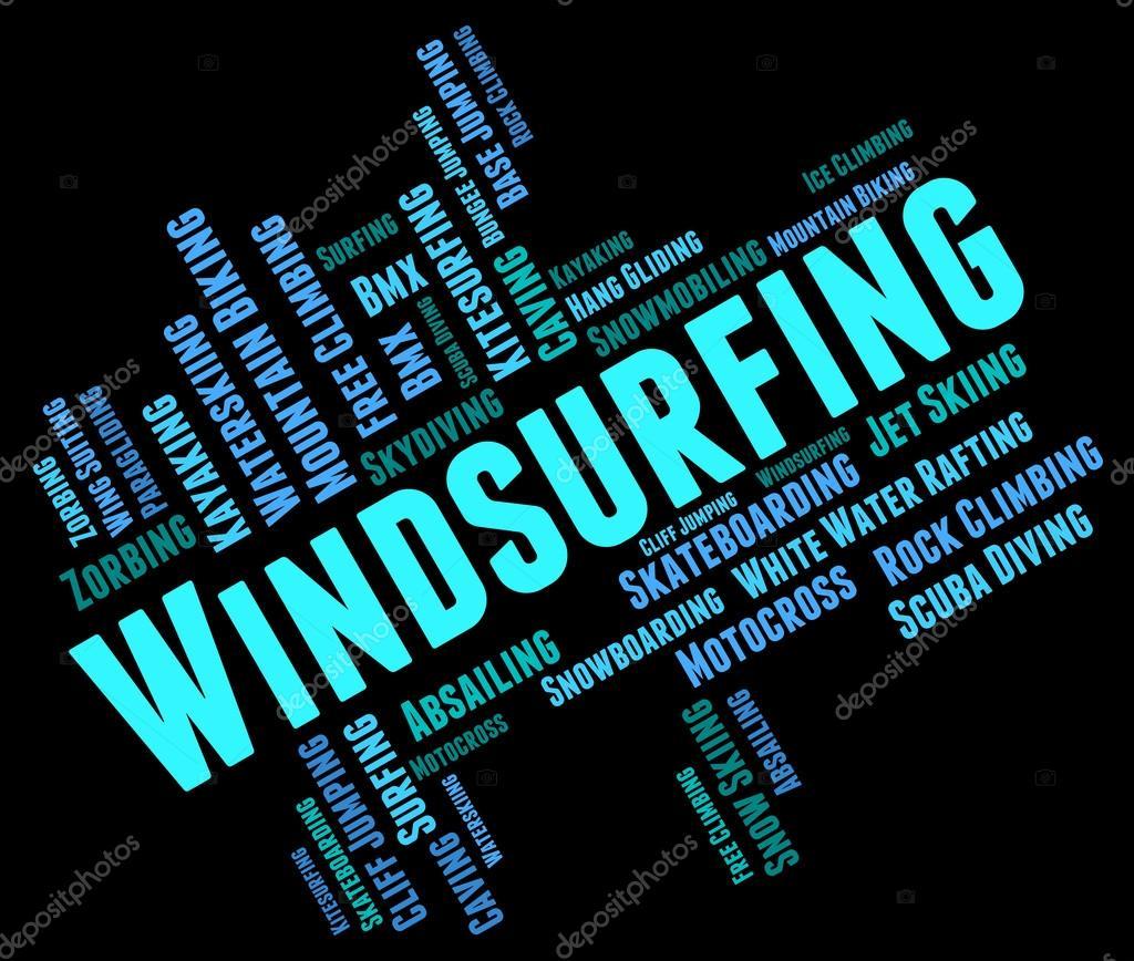 Windsurf vela de significa palabra embarque y Sailboarding — Foto de ...