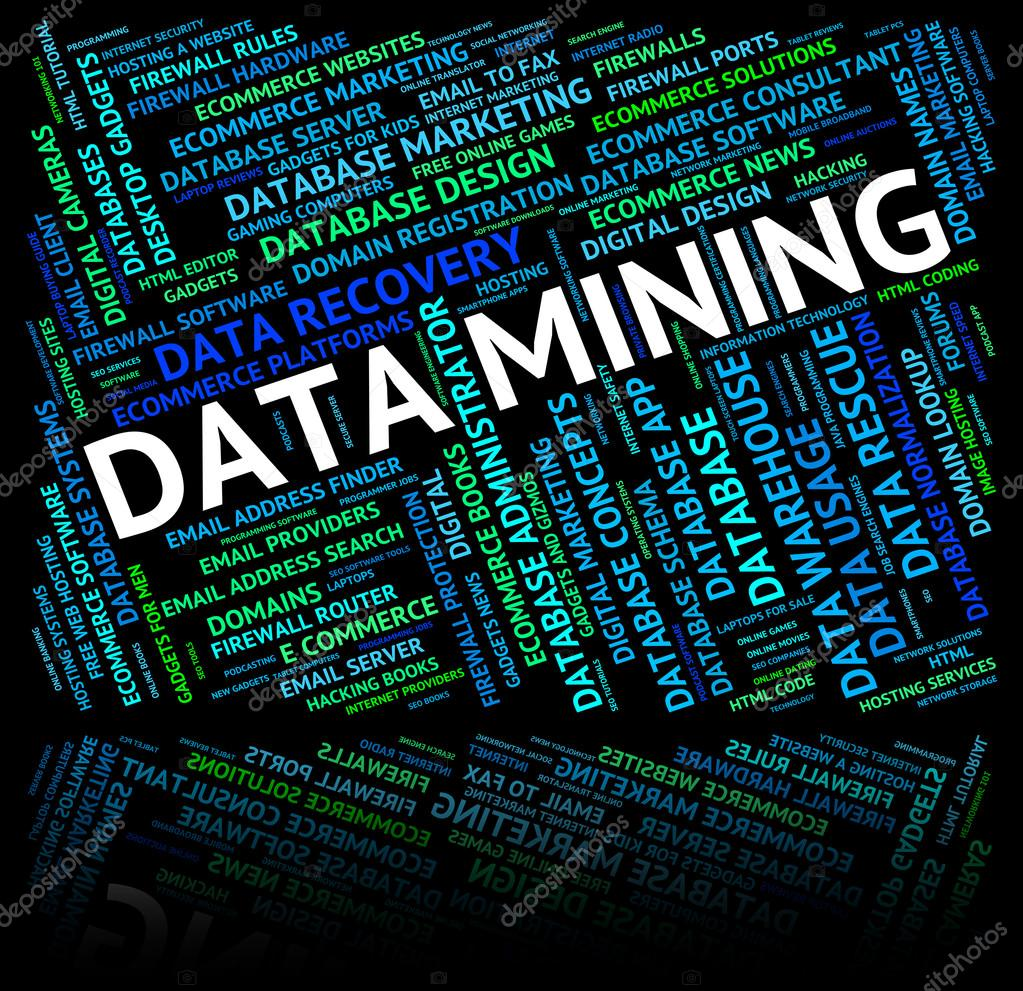 Data Mining Shows Mines Word And Mined — Stock Photo