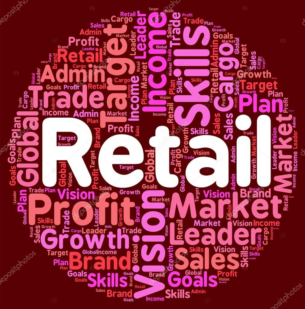 Venta por menor palabra significa vender ventas y mercado — Foto de ...