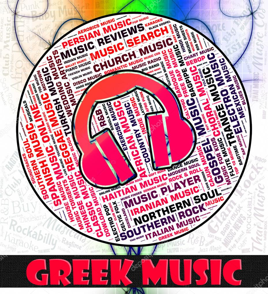 Greek Music Indicates Sound Track And Greece — Stock Photo