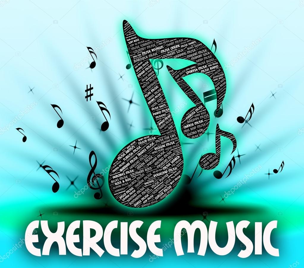 Exercise Music Means Working Out And Exercises — Stock Photo