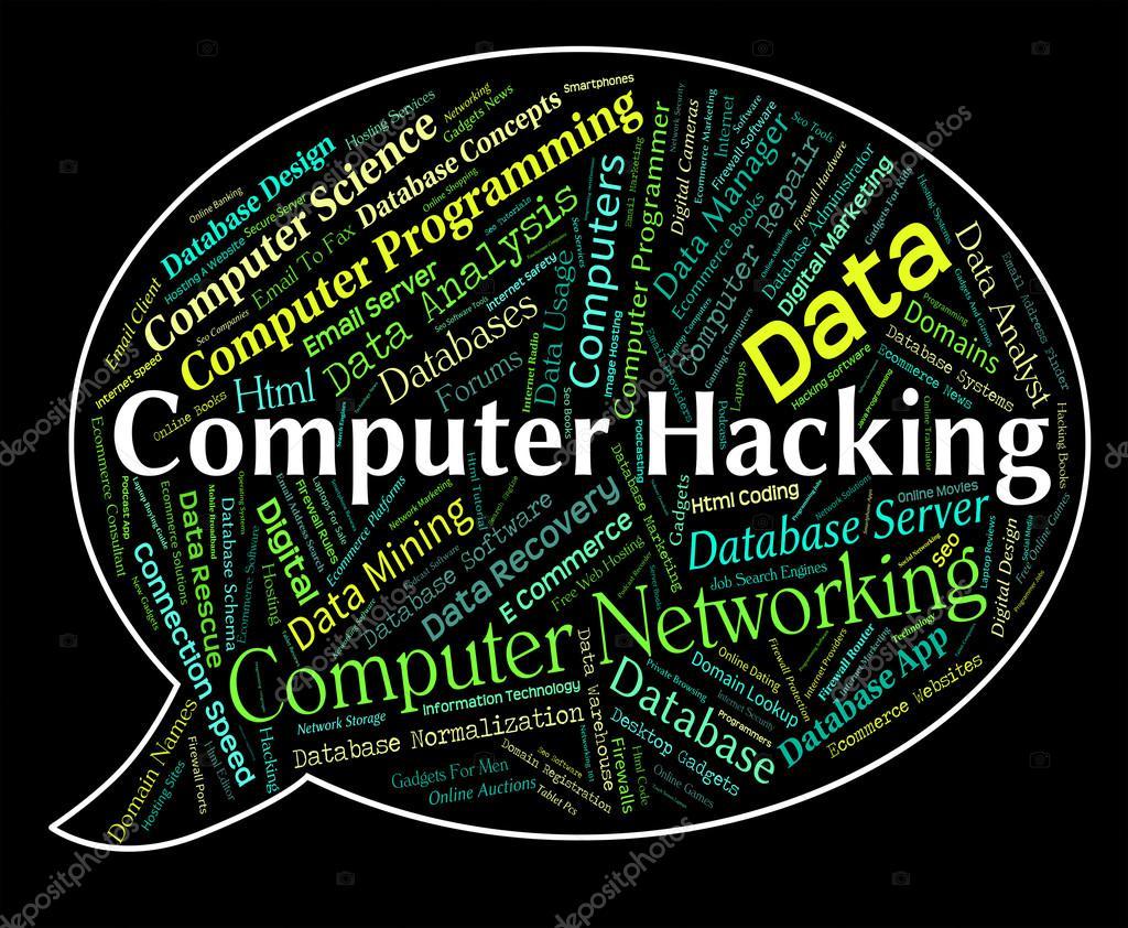 Взлом компьютера представляет связь компьютеров и программ-шпионов.