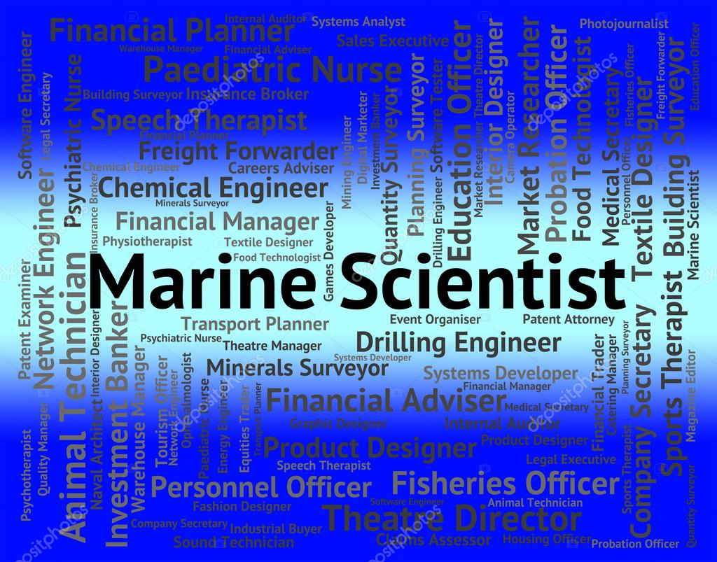 Marine Scientist Shows Ocean Text And Jobs — Stock Photo