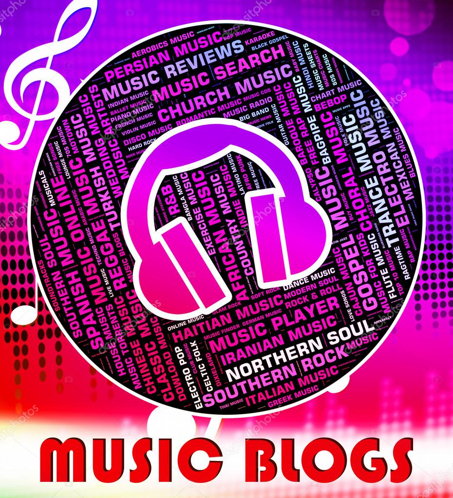Music Blogs Shows Sound Track And Acoustic — Stock Photo