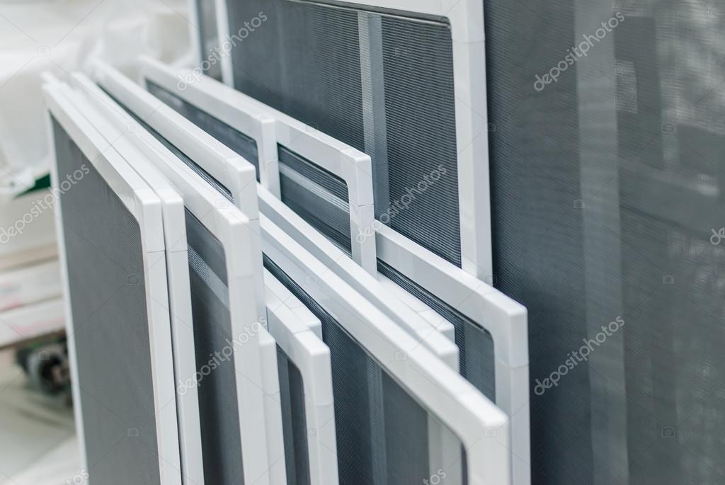 Ventanas Pvc Stock.Mosquito Nets For Plastic Pvc Windows Stock Photo