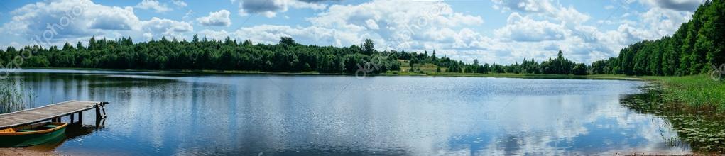 Summer lake panorama landscape