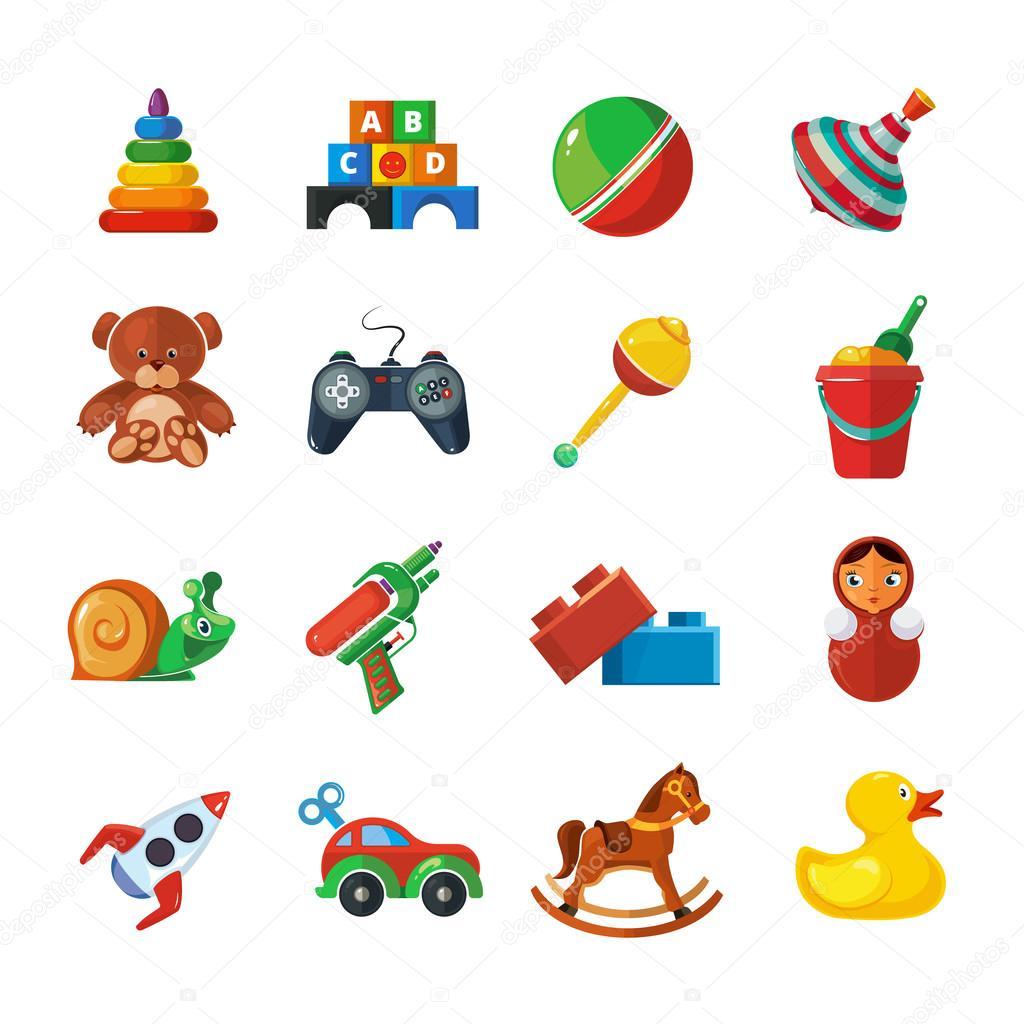 Iconos de juguetes para ni os aislar sobre fondo blanco - Juguetes nuevos para ninos ...