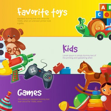 Toys icons for web banners.