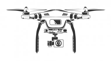 Vector monochrome picture of drone top view