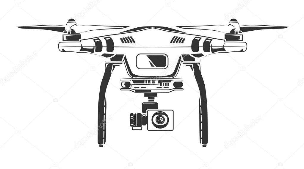 Vector Monochrome Picture Of Drone Top View Stock Vector