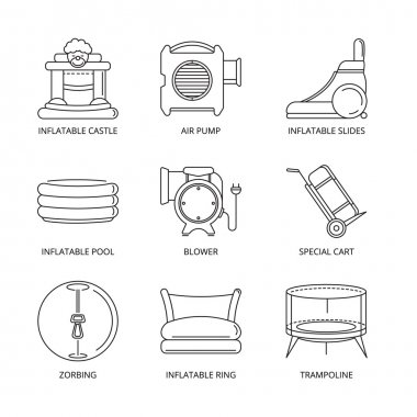 Vector mono line icons set of inflatable castles