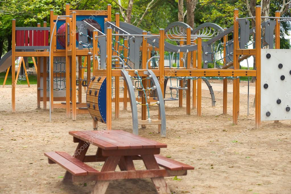 Empty playground swings