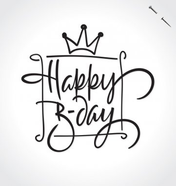 HAPPY BIRTHDAY hand lettering, vector illustration. Hand drawn lettering card background. Modern handmade calligraphy. Hand drawn lettering element for your design.