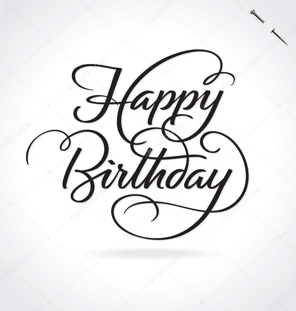 Happy Birthday Illustration Font ~ Happy birthday hand lettering vector illustration drawn card background modern