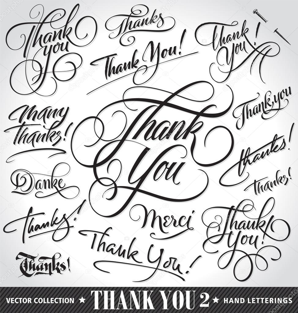 Set of custom THANK YOU hand lettering (thank you, danke, merci, thanks, many thanks), vector illustration. Hand drawn lettering card backgrounds. Modern handmade calligraphy. Hand drawn lettering elements for your design.