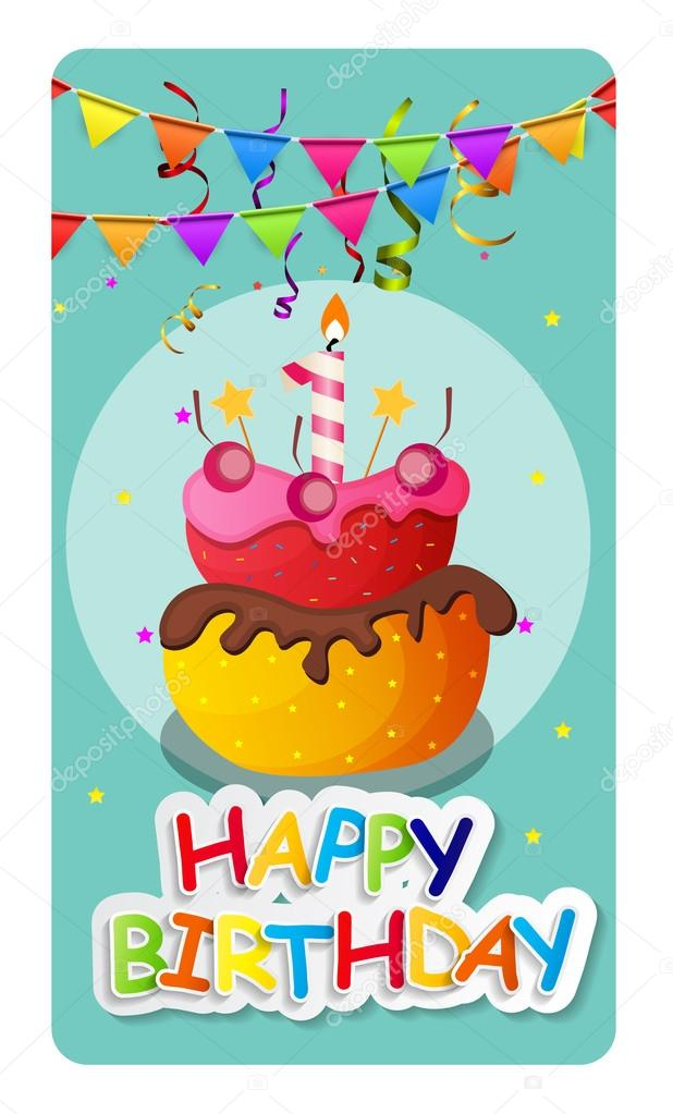 Happy Birthday Card Baner Background With Cake And Flags Vecto