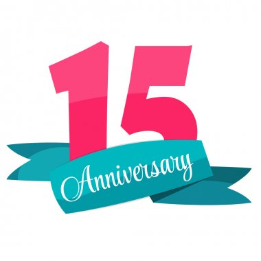 Cute Template 15 Years Anniversary Sign Vector Illustration