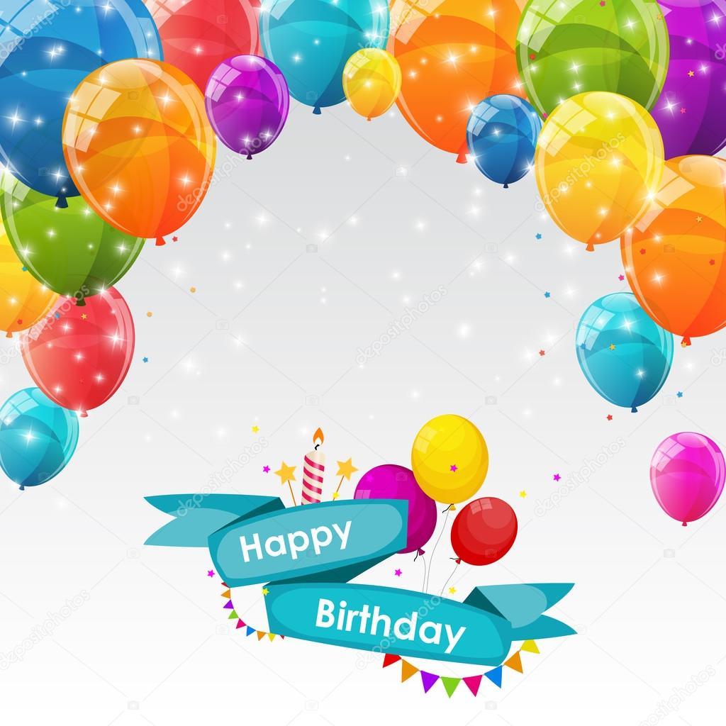 Plantilla de tarjeta de feliz cumpleaños con globos Vector ...