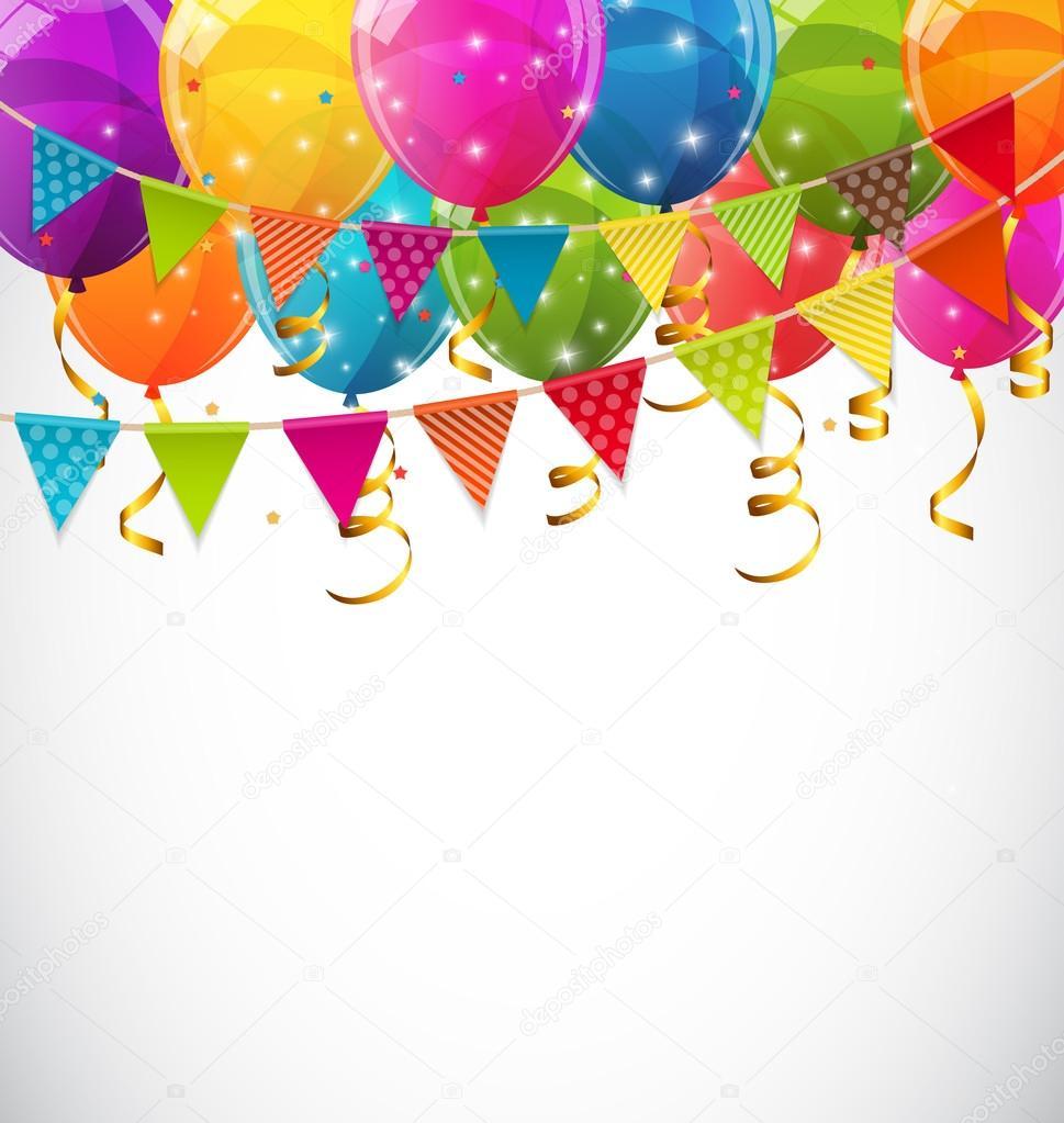 Color brillante globos y banderas fiesta fondo Vector dibujo ...