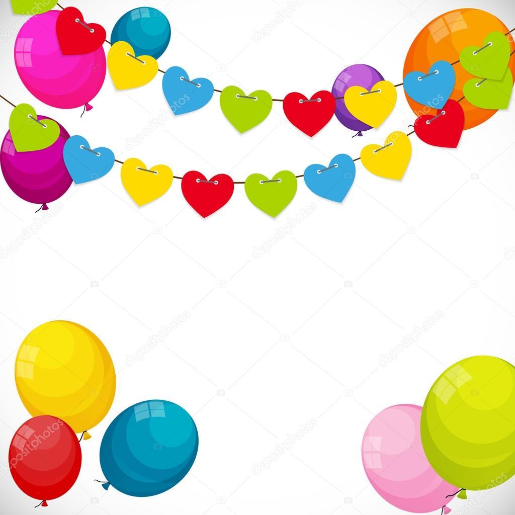 Farbe glänzend Happy Birthday Ballons Banner Hintergrund mit Rahmen ...