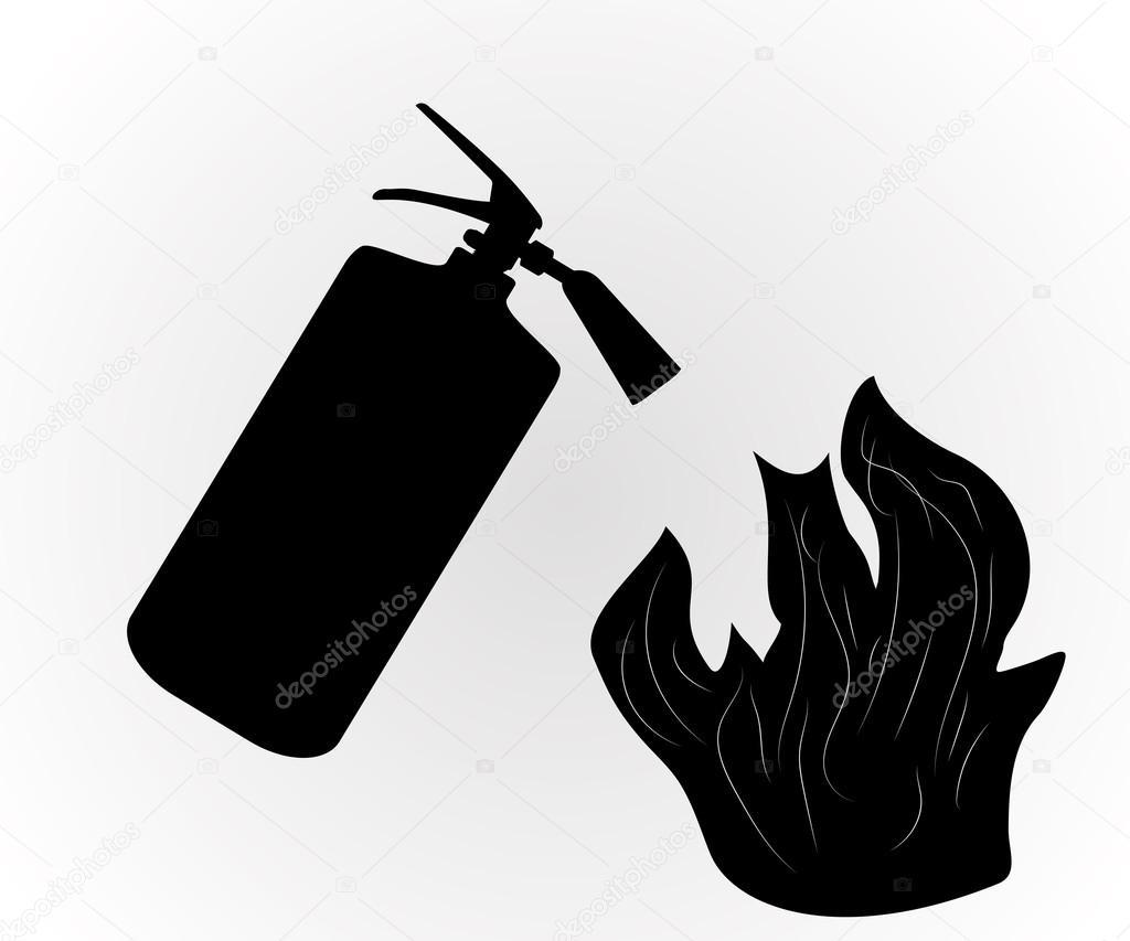 Extintor De Fuego Que Se Apaga El Fuego Aislado En Blanco