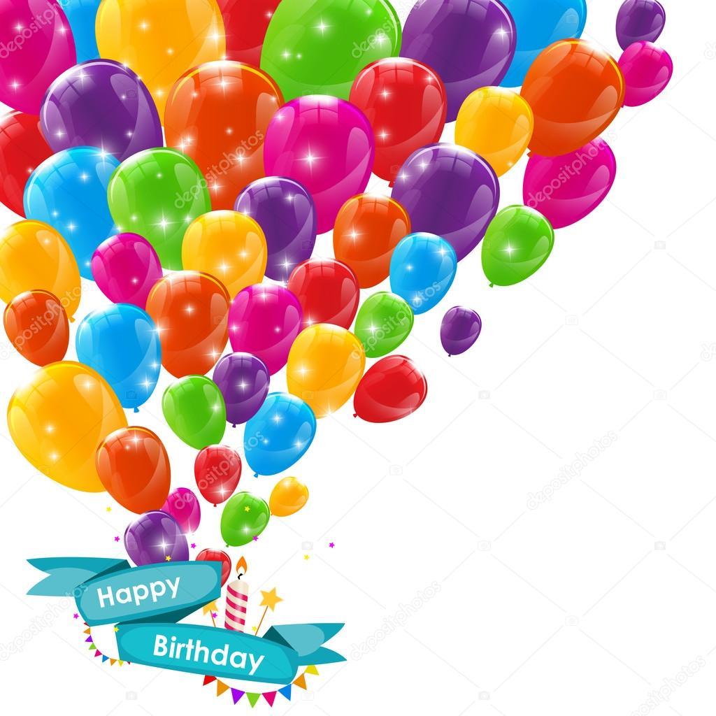 Modello di carta buon compleanno con palloncini nastro e - Immagine con palloncini ...