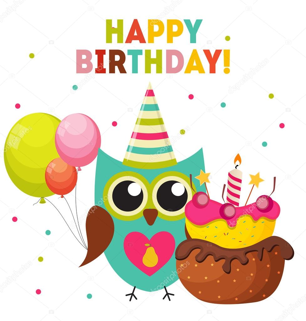 Cute Owl Happy Birthday Background with Balloons and Place ...