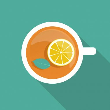 Tea Cup with Mint Leaf and Lemon Icon with Long Shadow. Vector Illustration EPS10 icon