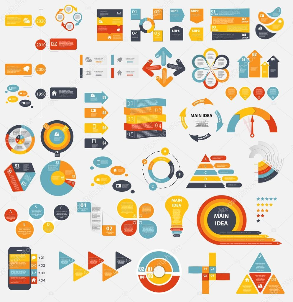 Mega Collection of Flat Infographic Templates for Business Vecto