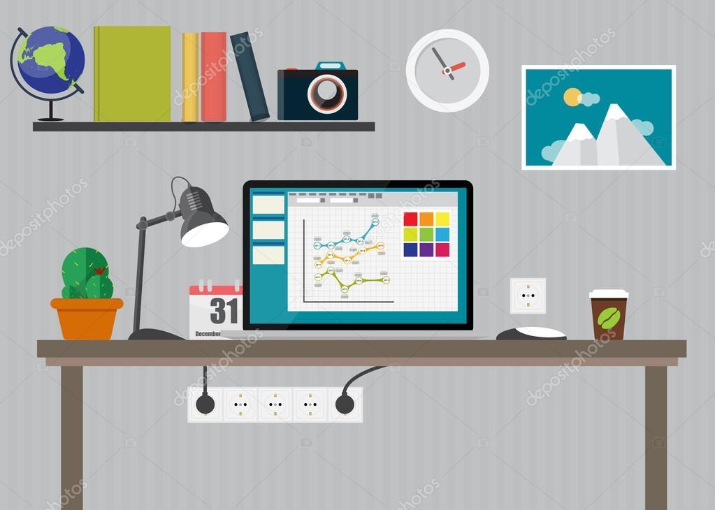Trabajo lugar oficina moderna interiores dise o plano for Diseno de interiores dibujos