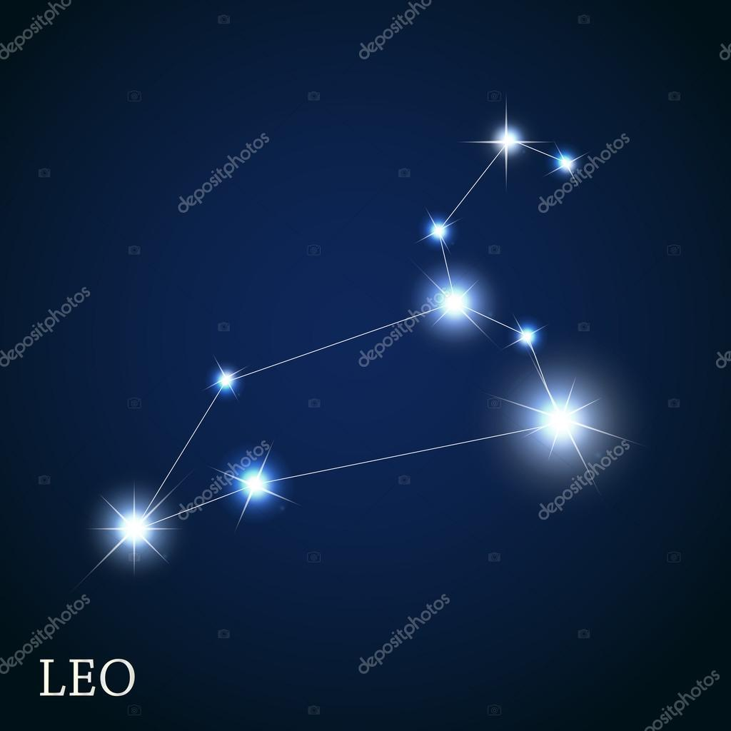 Leo Zodiac Sign of the Beautiful Bright Stars Vector Illustratio