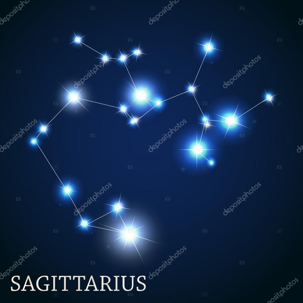 Sagittarius Zodiac Sign of the Beautiful Bright Stars Vector Ill