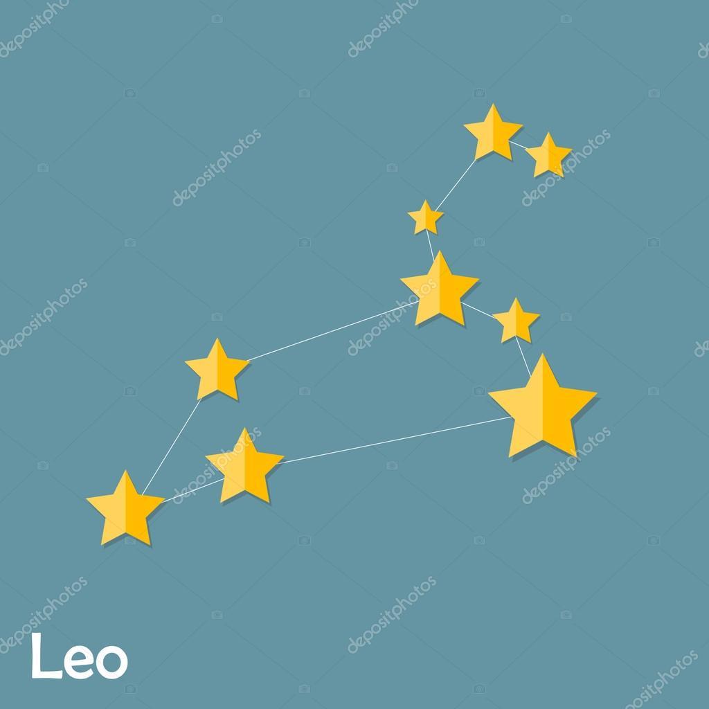 Leo Zodiac Sign of the Beautiful Bright Stars Vector Illustratio