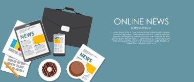 Online News Vector illustration. Flat computing background.