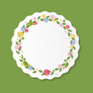 Vintage Frame with Flowers Vector Illustration