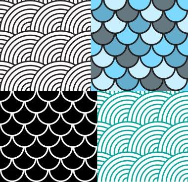 Seamless Fish Scale Pattern Set Vector Illustration. EPS10 clip art vector
