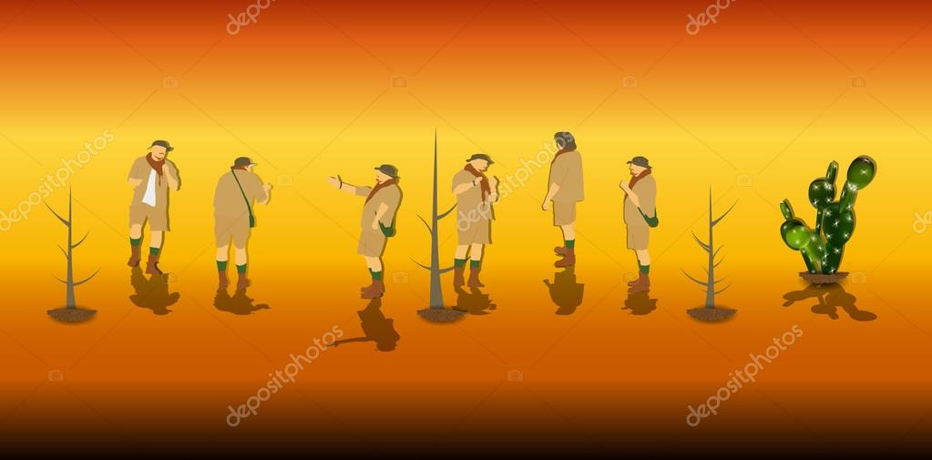 Set of Tourists in a Safari. Vector Illustration.