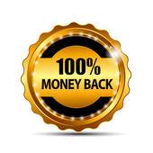 Peníze zpět záruka zlaté znamení vektorové, etiket
