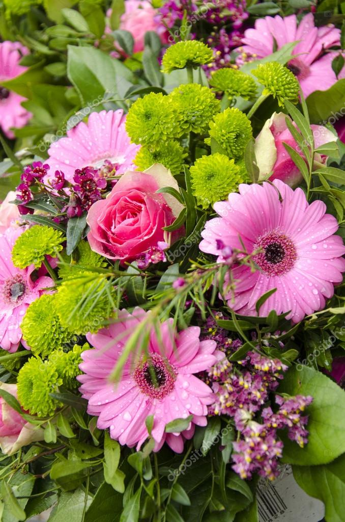Flowers - Pink And Green Bouquet