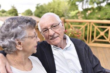elderly couple relaxing